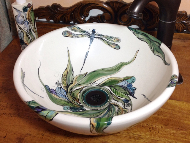 Clay Born Pottery Custom Painted Sink